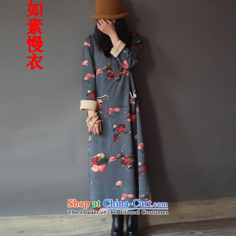 If so slow yi dresses 2015 new women's arts suit sweater long cheongsam dress retro flowers cotton linen dress code are Gray 2147