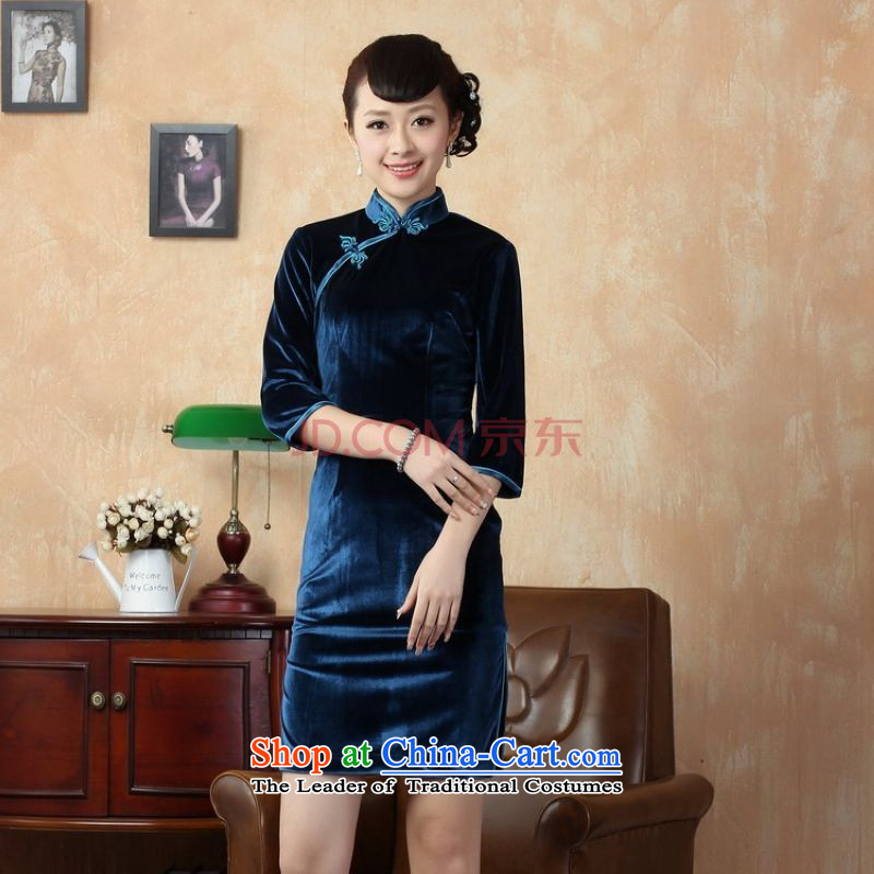 Picking frequency 7 cuff cheongsam dress dresses and the Stretch Wool qipao?-D'Kim Cyan?S