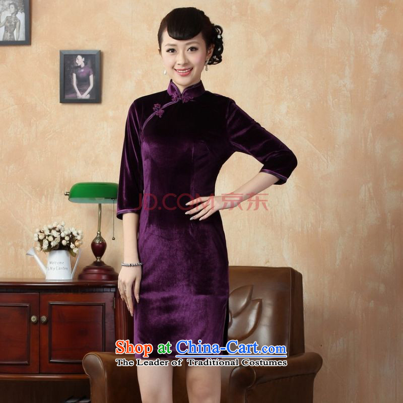 Picking frequency new pure color and the Stretch Wool qipao seven gold cuff cheongsam dress?-B Violet Ms.?M