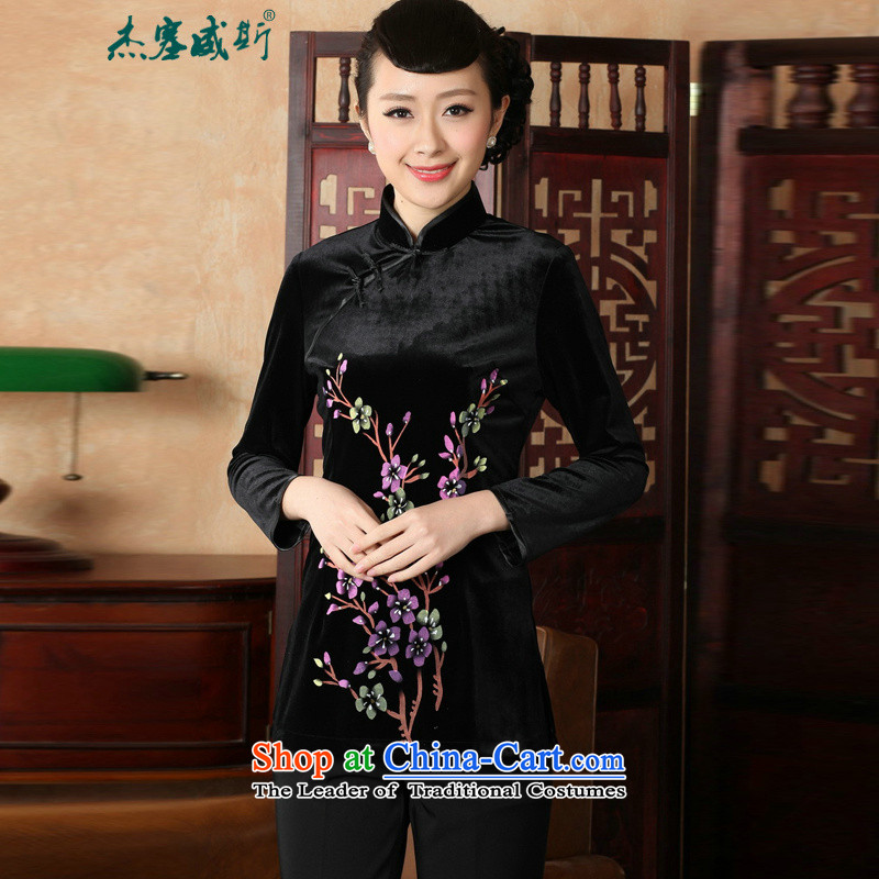 In the Fall of Jericho with Chinese clothing ethnic women improved hand-painted stamp 9 cuff scouring pads qipao T-shirt Tang dynasty?A0065?Black?XL