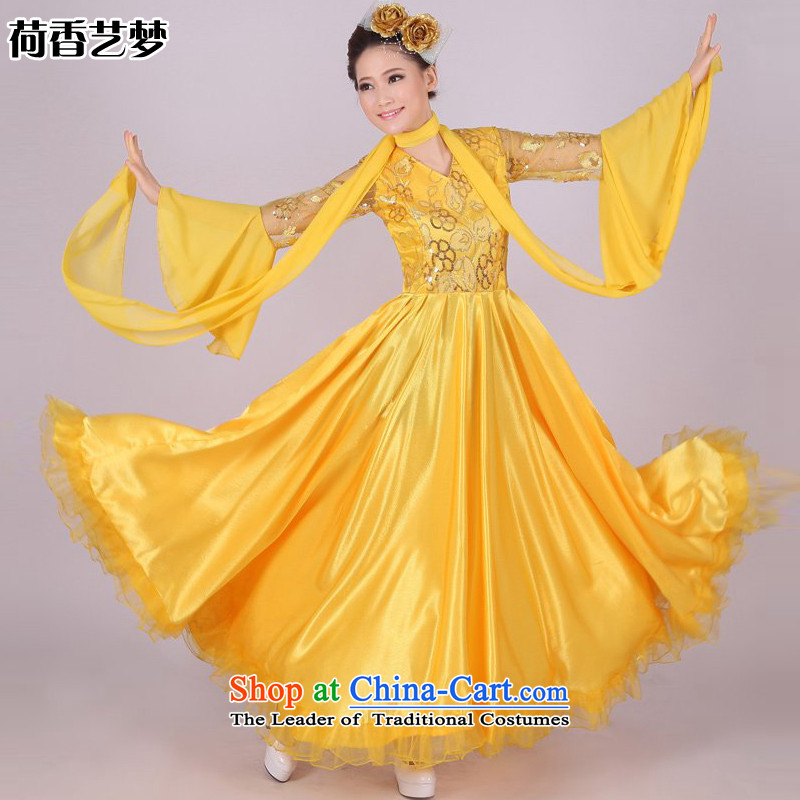 I should be grateful if you would have the Champs Elysees chorus national dream arts services female long skirt opening dance performances by large skirt Fashion Apparel red, blue and yellow square dance stage show Services 180 degrees燲XXL yellow size to