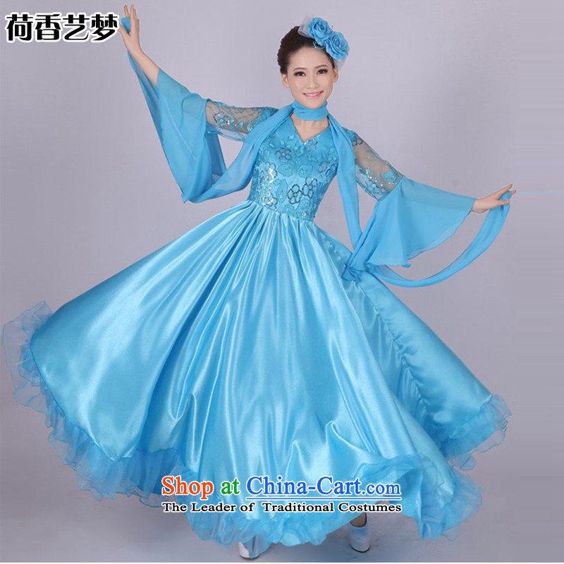 I should be grateful if you would have let national choir incense arts costumes female long skirt opening dance performances by large skirt Fashion the red, blue and yellow Chorus will HXYM0001 blue燲XXL 180 degrees size too big a code