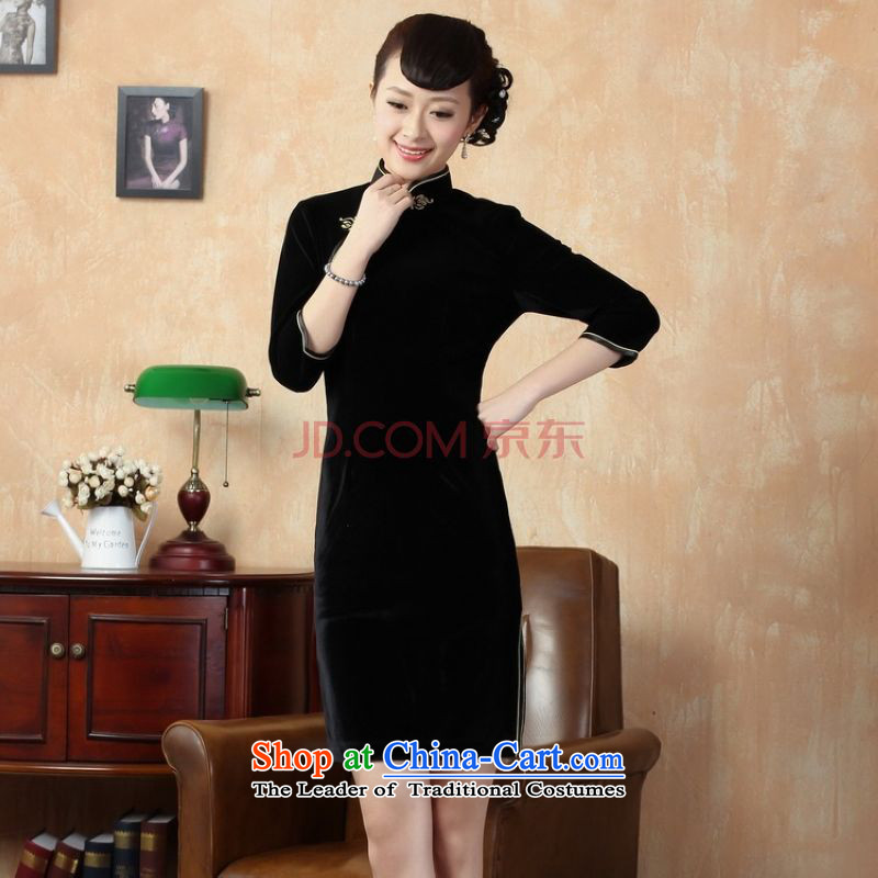 Picking frequency improvement of Qipao pure colors, Superior Stretch Wool qipao Kim聽-A black聽2XL
