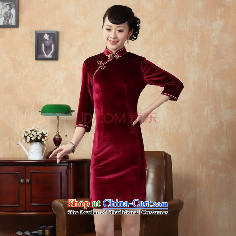 Ms. cheongsam dress picking frequency dresses pure color and the Stretch Wool qipao seven really cuff wine red L