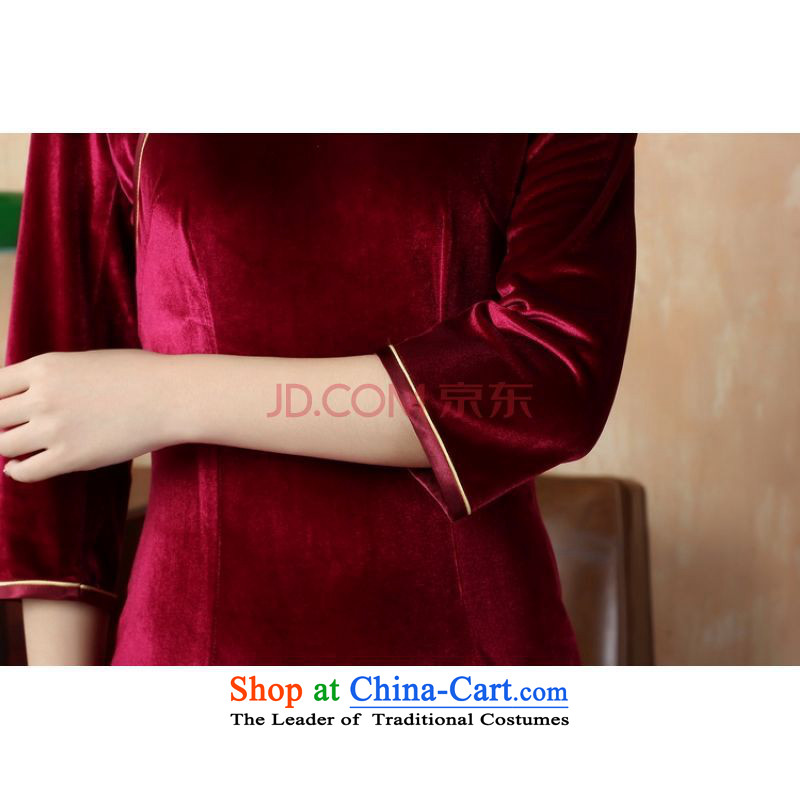 Ms. cheongsam dress picking frequency dresses pure color and the Stretch Wool qipao seven really cuff wine red聽, L, picking frequency , , , shopping on the Internet
