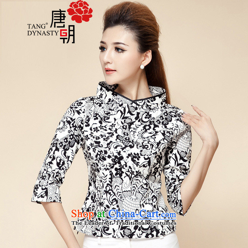 The Tang dynasty 2015 Autumn replacing New China wind improved qipao 7 Cuff T-shirt Chinese Tang dynasty to black-and-white flower girl TCA42280?M