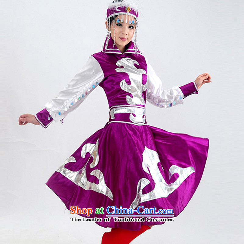 Arts dreams minority clothing fashions Mongolian costumes Female dress robe stage costumes dance HXYM-0022 Mongolia purple XXL