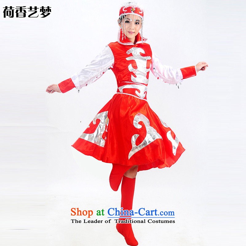 I should be grateful if you would have this minority clothing incense arts Mongolian dress costumes Female dress robe stage costumes dance performances to mongolia HXYM0022 Red 140