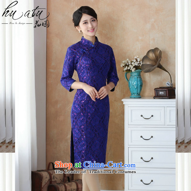 It fall inside the new cheongsam dress Tang Dynasty Chinese collar improved scouring pads lace qipao costumes, cuff qipao�- 3 M