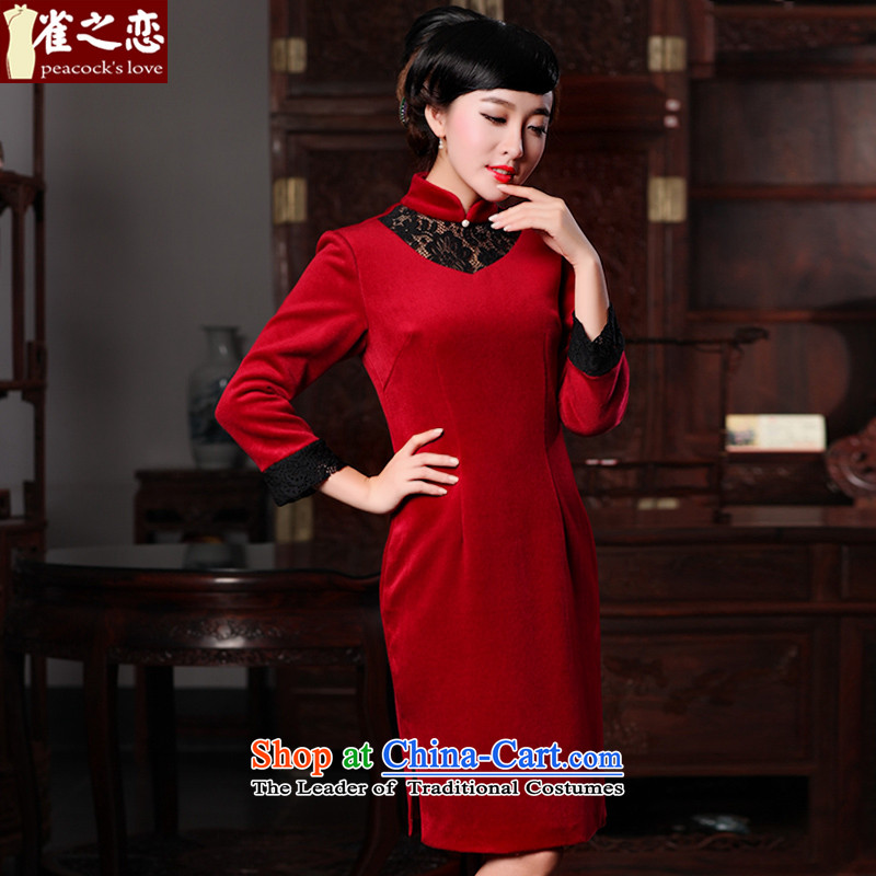 Love of birds at the Fangfei country聽spring 2015 new improved long-sleeved stylish wool QC590 qipao? Red Red聽S