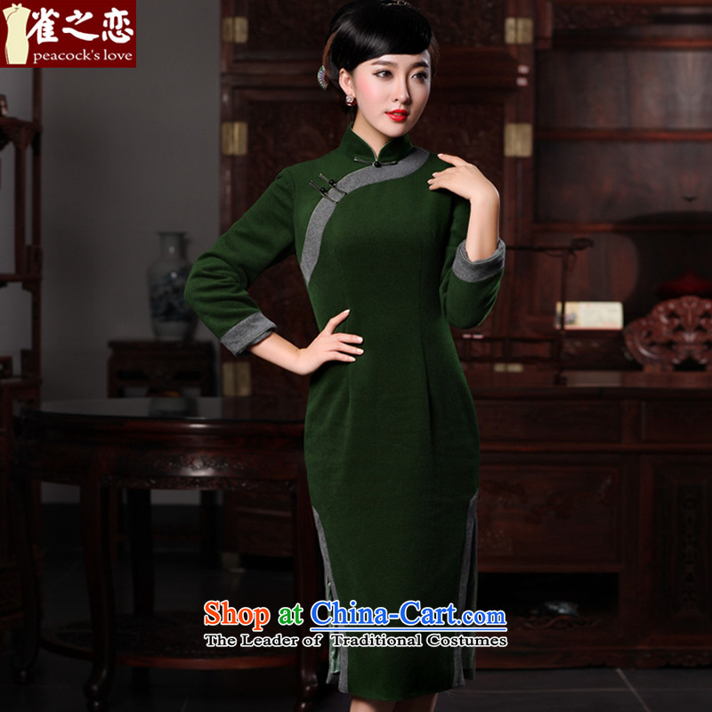 Love birds that Jiang smoke and clouds爏pring 2015 new improvements in long wool is stylish, Ms. daily qipao燲XXL Dark Green