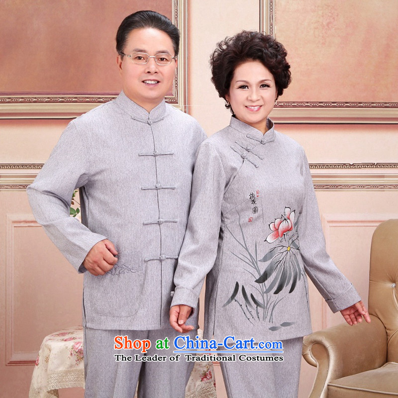 2015 Autumn and winter grade pure cotton linen in older couples Han-ethnic manually refreshing the atmosphere with his father the craftsmanship of mother boxed kit cyan women 3XL