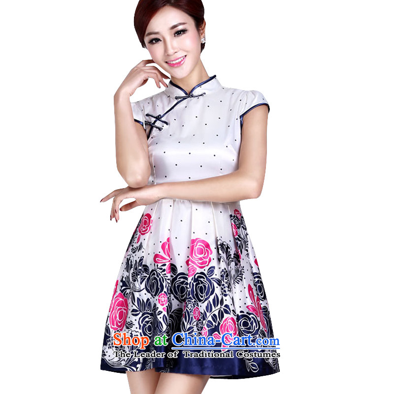 In accordance with the American's summer cheongsam dress short of improved retro cheongsam elegant beauty large female dresses LYE9016 white?L