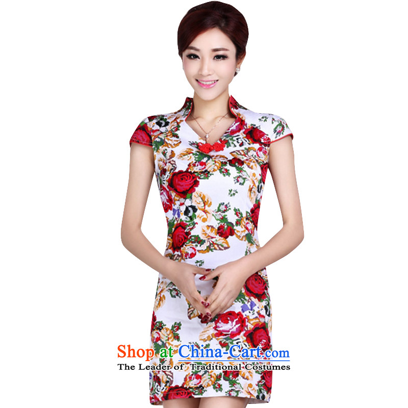 In accordance with the American Ms. short-sleeved short qipao female retro stamp elegant qipao Female dress daily improved LYE1392 White?XL