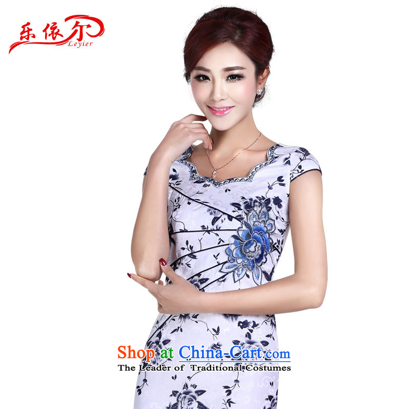 In accordance with the American's summer short-sleeved blouses and skirts improved qipao qipao retro-day short of Sau San elegant dress LYE8801 porcelain?S