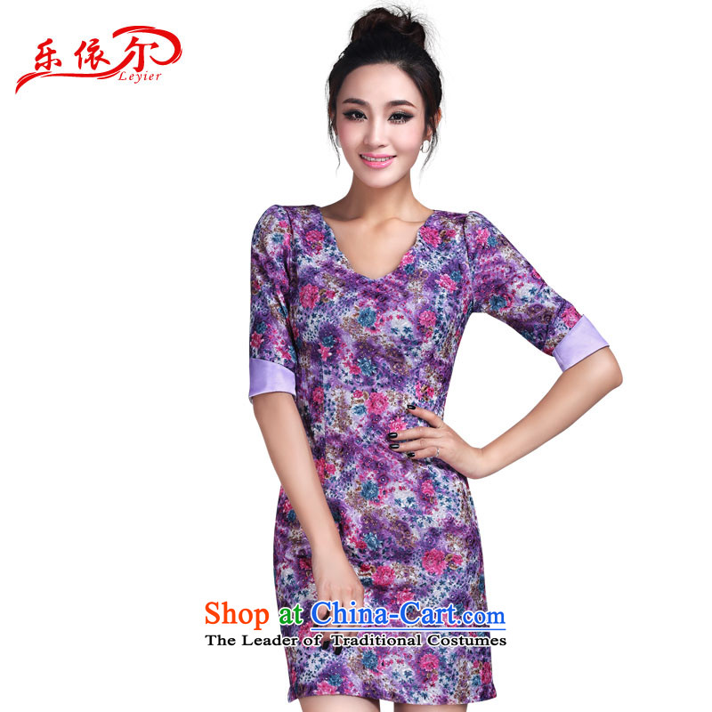 In accordance with the American style, short-sleeved dresses and elegant floral personality Lady ) cheongsam dress LYE1382 PURPLE?XL