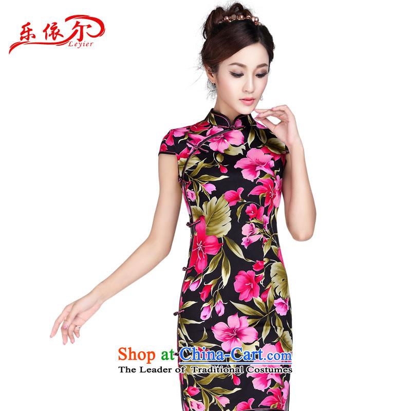 In accordance with the American Women's Summer's Mock-neck retro cheongsam dress elegant qipao daily retro improved graphics thin cheongsam dress Sau San LYE7013 blackS