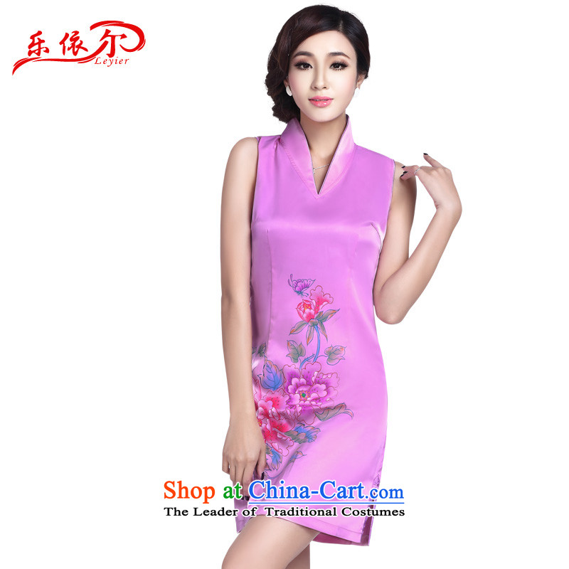 In accordance with the American's summer female qipao stylish sexy qipao retro improved short of qipao gown skirts V-Neck LYE1705 pink L