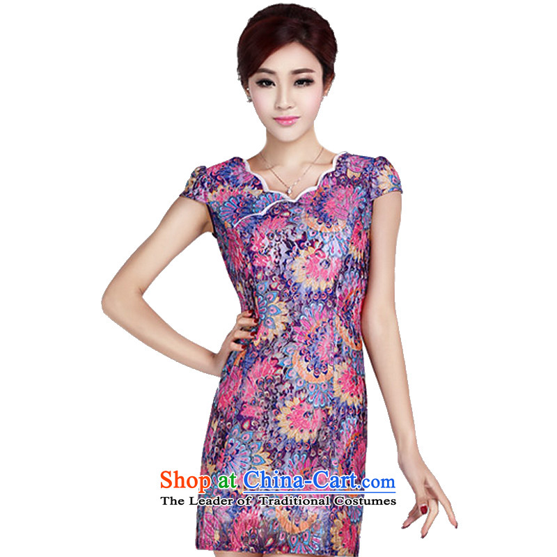 In accordance with the American's summer short-sleeved blouses and female elegant furnished in a classic style qipao gentlewoman daily short of qipao and noble dresses LYE1370 PURPLE M