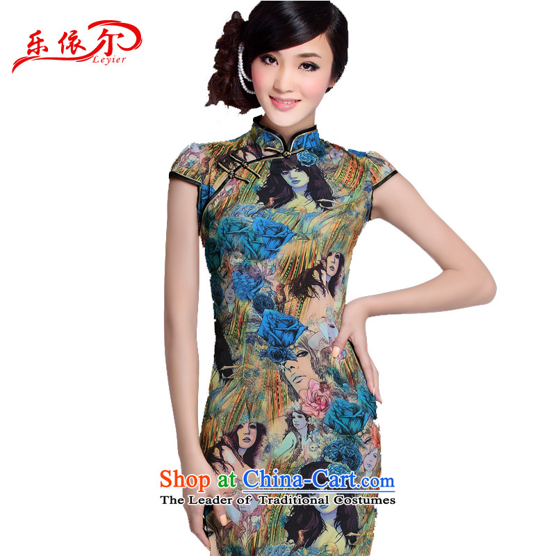 In accordance with the American's summer female qipao female Chinese Antique style qipao daily low improved power's skirt聽LYE1306 Sau San qipao聽map color聽L