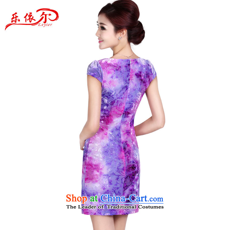 In accordance with the American's summer short-sleeved embroidery qipao Ms. short of female elegant ladies Sau San package and cheongsam dress LYE8809 PURPLE M