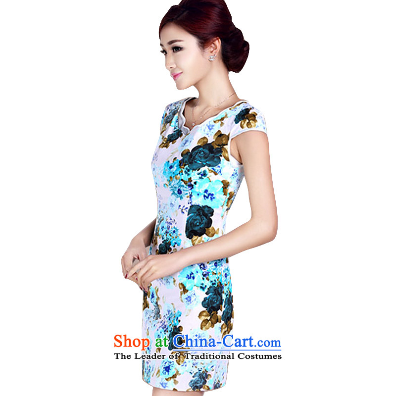 In accordance with the American's summer short-sleeved qipao Women Ms. Retro classic and elegant qipao stamp daily short of cheongsam dress?LYE1402?BLUE?XL