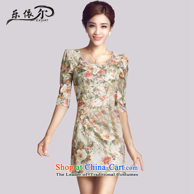 In accordance with the American cheongsam dress autumn retro-sleeve for women daily Chinese improved cheongsam dress female LYE66623 SAFFLOWER?M