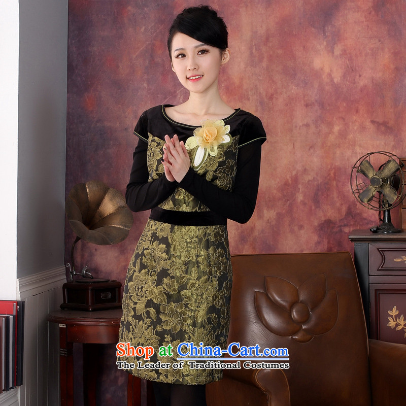 Oriental aristocratic 2015 Fall/Winter Collections of original design of the new folder, female qipao COTTON SHORT to three-dimensional embroidery warm cheongsam dress�344629 Sau San S