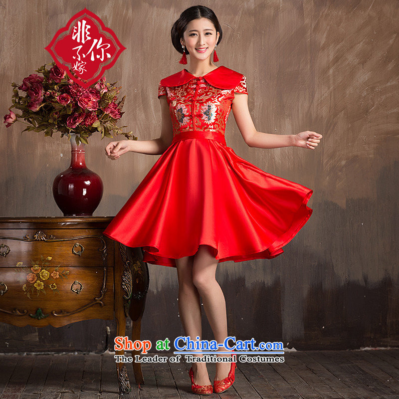 Non-you do not marry?2015 New Chinese wedding dress Chinese improved stylish lapel cheongsam with Lace Embroidery short skirts bows service?s marriage Sau San