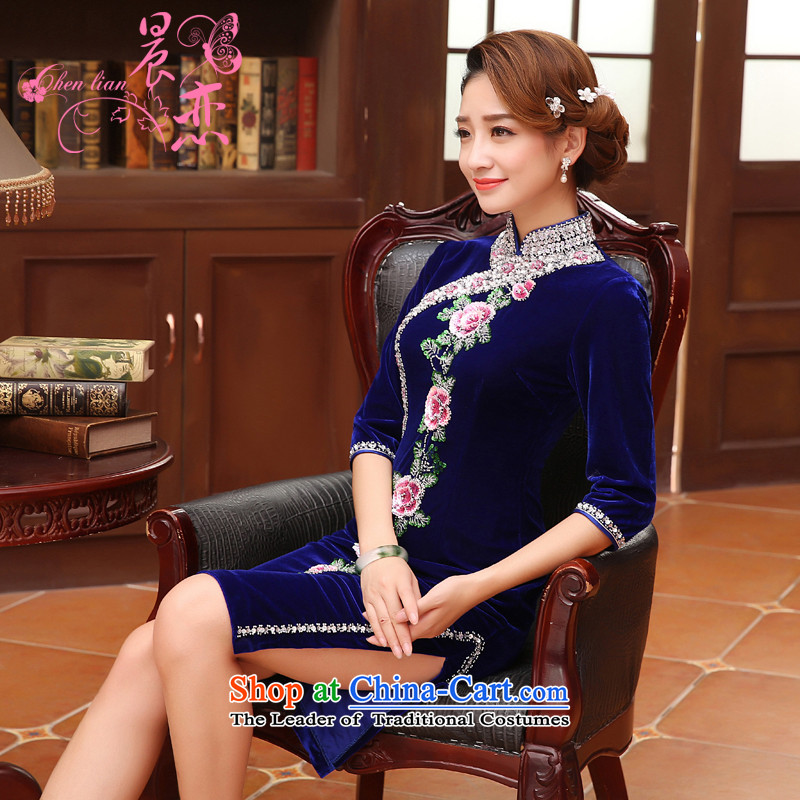 Land 2015 autumn morning new Stylish retro in cuff luxury improved manually staple bead scouring pads cheongsam dress Blue M