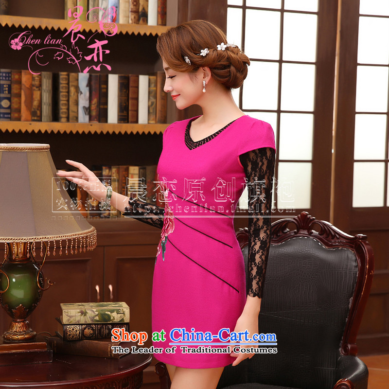 The 2014 autumn morning land new stylish improved fine wool spend rust replica cheongsam dress vest skirt and two-tone of red XXL