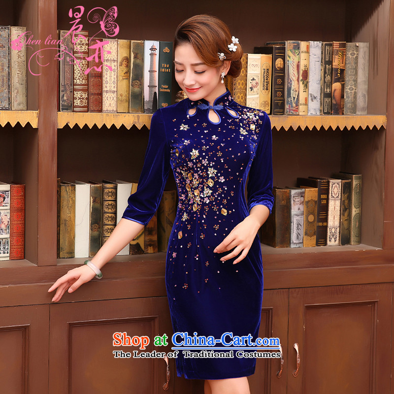 Land 2015 autumn morning new Stylish retro in cuff luxury improved manually staple bead scouring pads cheongsam dress blue L