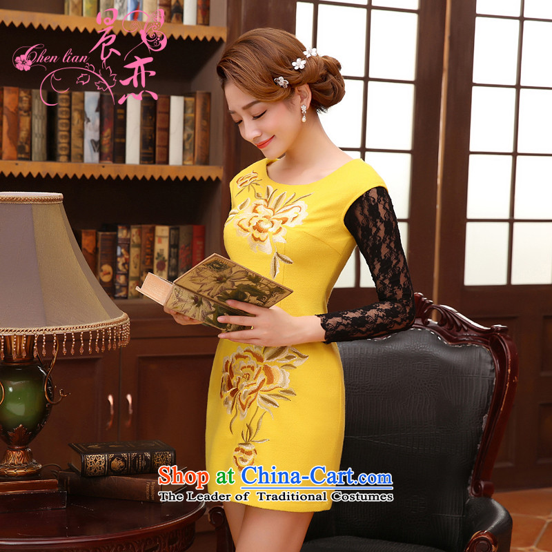 The 2014 autumn morning land new Stylish retro fine rust flowers improved wool cheongsam dress vest skirt Yellow?M