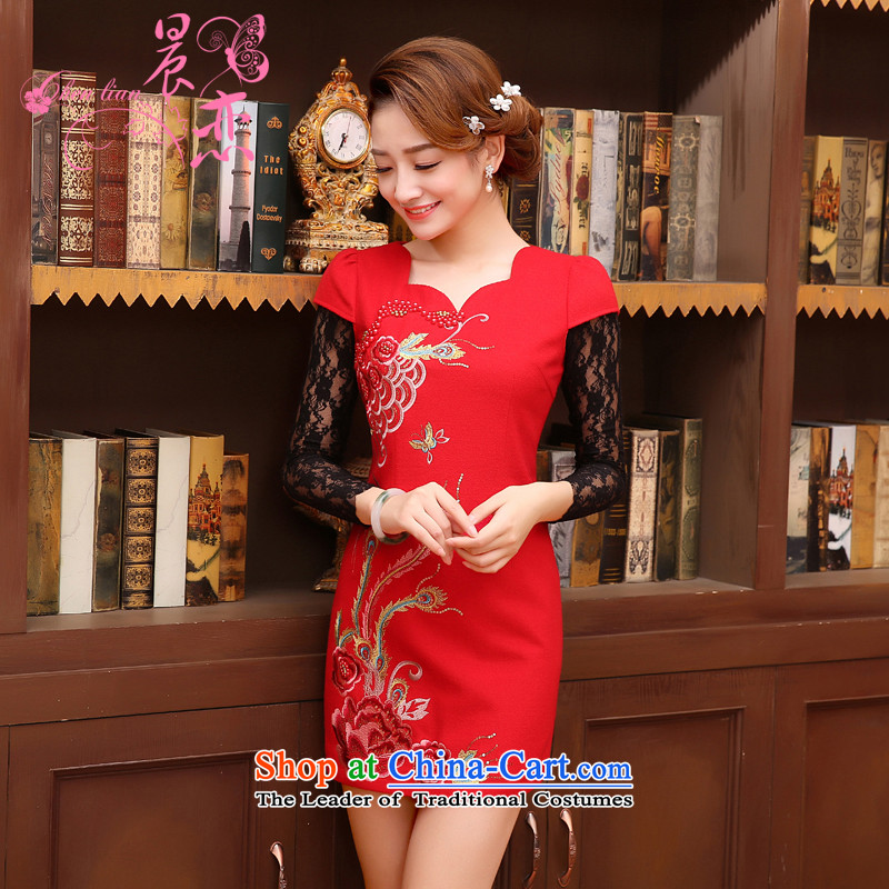 Land 2014 New Morning cheongsam dress short of marriage wool red retro improved bride? bows to vest skirt RED?M