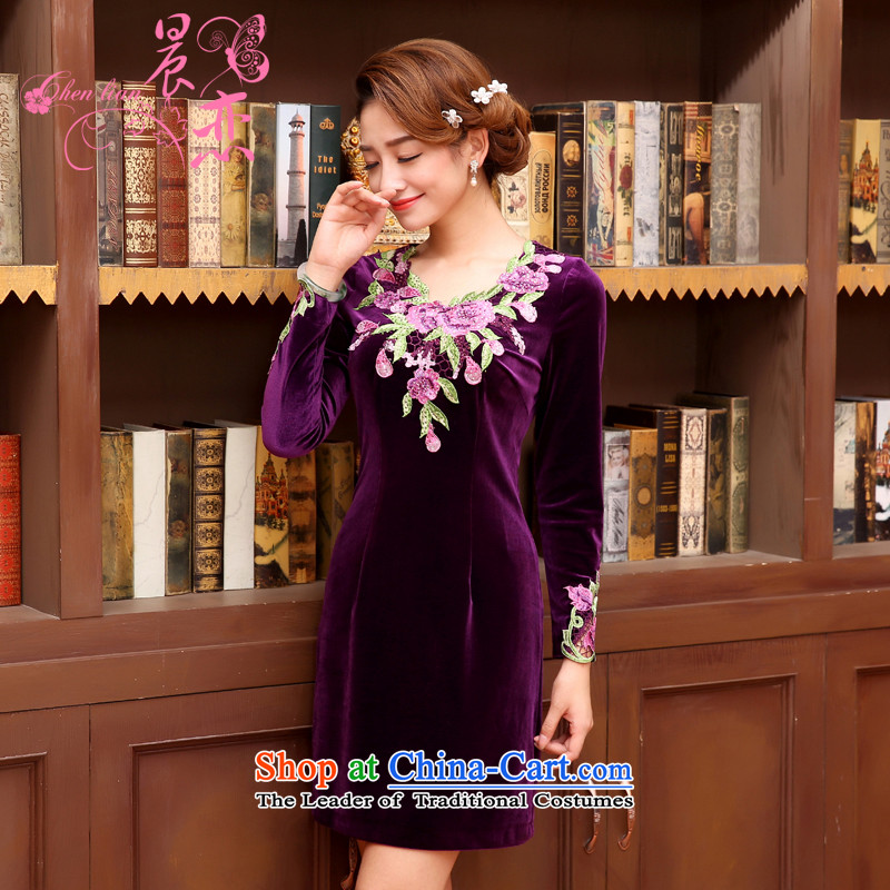 The 2014 autumn morning land new Stylish retro in improved cuff fine velvet qipao rust flower dresses purple purple聽XXL