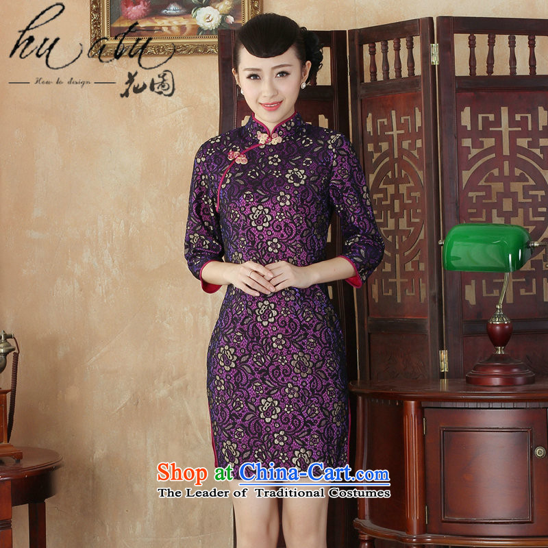 It fall inside the new Tang Women's clothes qipao lace collar Chinese cheongsam dress Stylish retro in improved cuff qipao figure?XL
