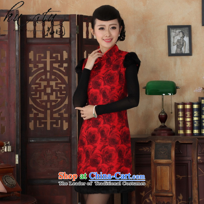 Floral winter clothing new cheongsam dress Tang dynasty qipao gown collar need improved gross winter so CHINESE CHEONGSAM figure?M