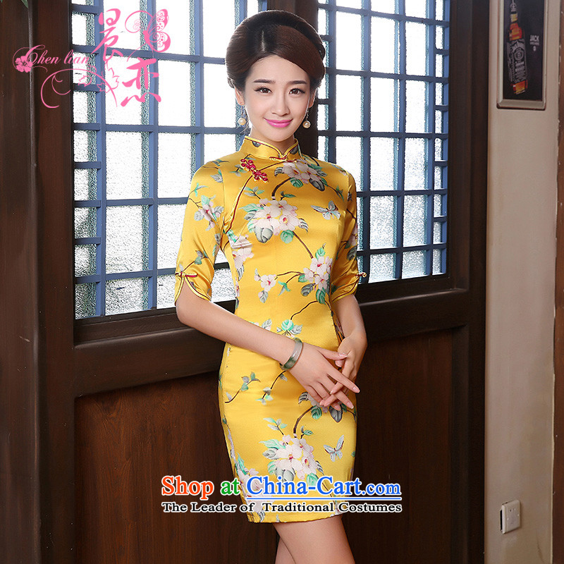 The 2014 autumn morning land new Stylish retro in cuff luxury improved manually staple bead scouring pads cheongsam dress yellow XXL