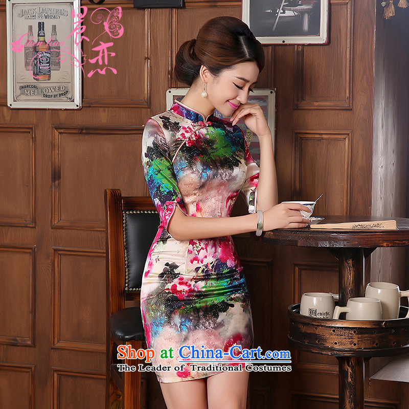 Morning new qipao land 2014 autumn in the retro fitted sleeveless improved stylish herbs extract heavyweight silk cheongsam dress of color jacquard yarn- M
