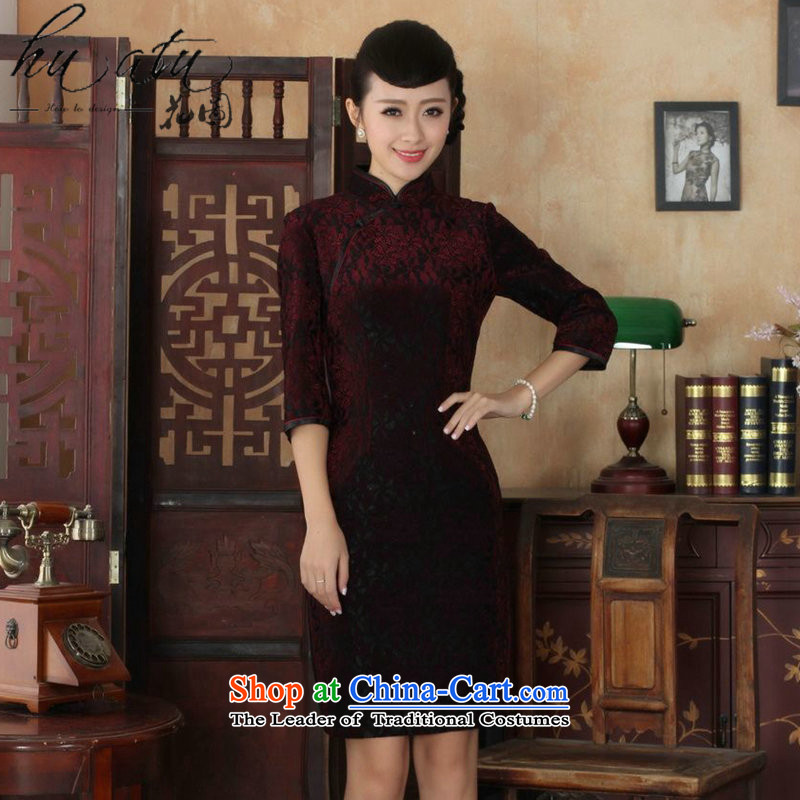 It New Tang dynasty cheongsam dress collar Chinese improved lace Kim scouring pads qipao skirt seven Sau San cuff qipao聽21 2XL