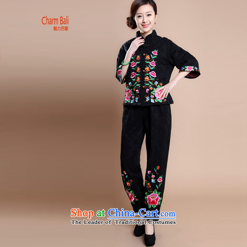 Charm and Asia 2015 Fall_Winter Collections on new upscale full cotton jacquard embroidery in Tang women older mother blouses pants two-piece set with the girl can sell black聽XXL