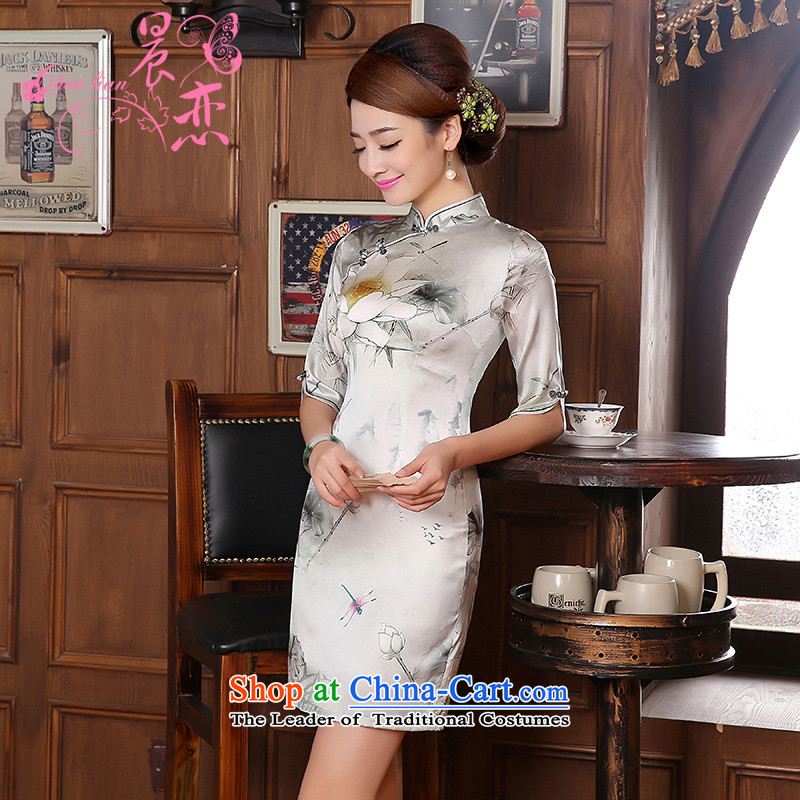 Morning new qipao land 2014 Autumn replacing retro long-sleeved improved stylish herbs extract heavyweight silk cheongsam dress Esther Kwan silver?M