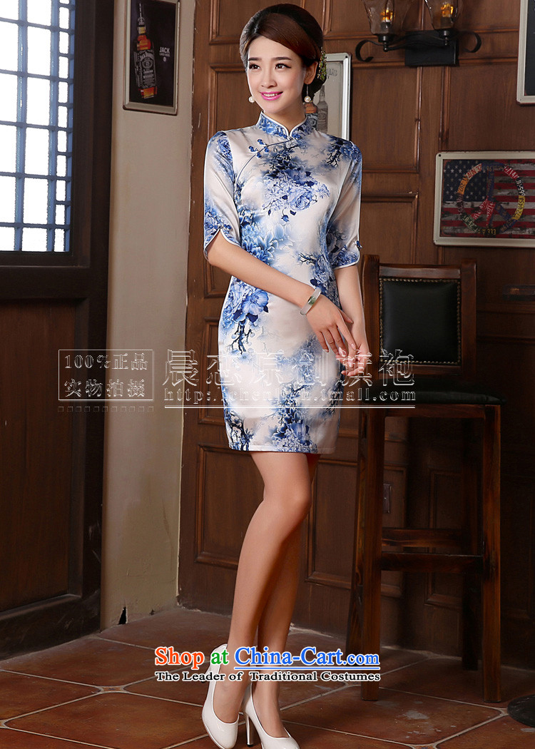 Morning new qipao land 2014 Autumn replacing retro long-sleeved improved stylish herbs extract heavyweight silk cheongsam dress blue light blue floral聽155/S picture, prices, brand platters! The elections are supplied in the national character of distribution, so action, buy now enjoy more preferential! As soon as possible.