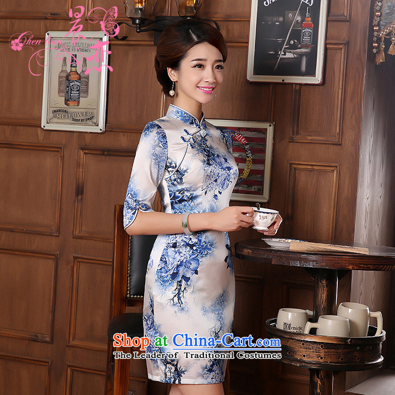 Morning new qipao land 2014 Autumn replacing retro long-sleeved improved stylish herbs extract heavyweight silk cheongsam dress blue light blue floral?155/S