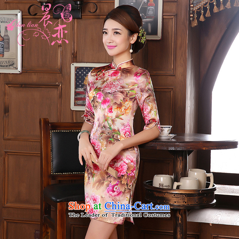 Morning new qipao land 2014 autumn in the retro fitted sleeveless improved stylish herbs extract heavyweight silk cheongsam dress peony pink SAIKA?155/S