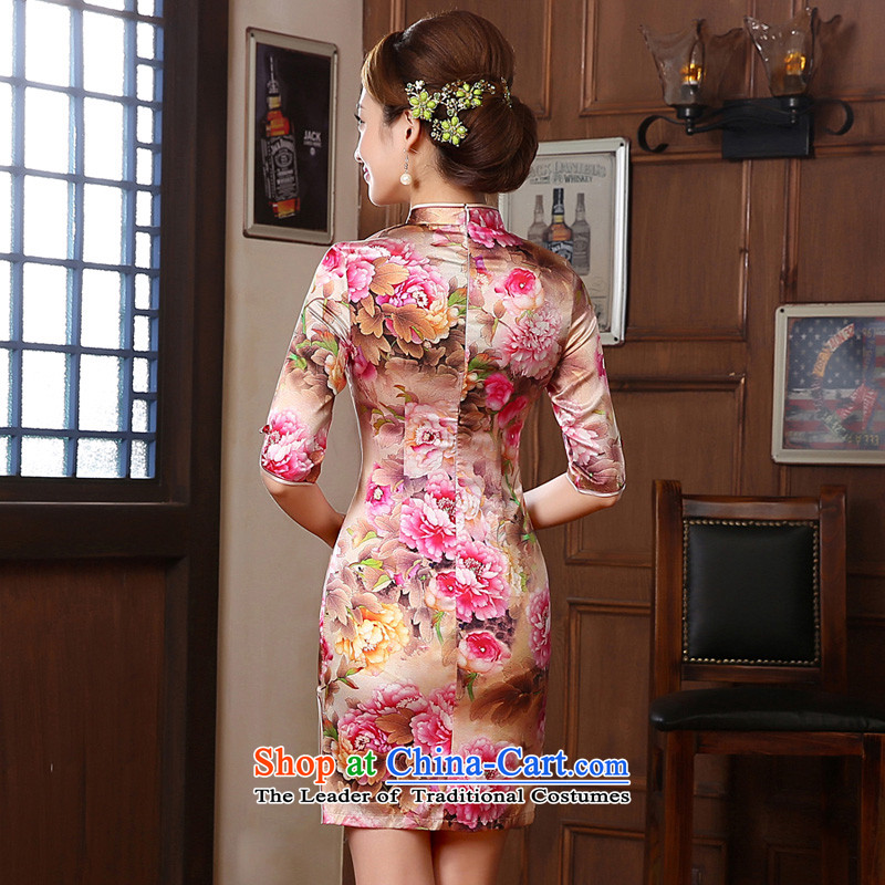 Morning new qipao land 2014 autumn in the retro fitted sleeveless improved stylish herbs extract heavyweight silk cheongsam dress peony pink SAIKA聽155/S, morning land has been pressed shopping on the Internet