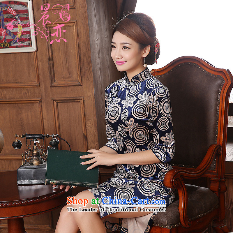 Morning spring and autumn 2015 new land Stylish retro short of Korea improved scouring pads in the reusable cuffs cheongsam dress mother blue?XL