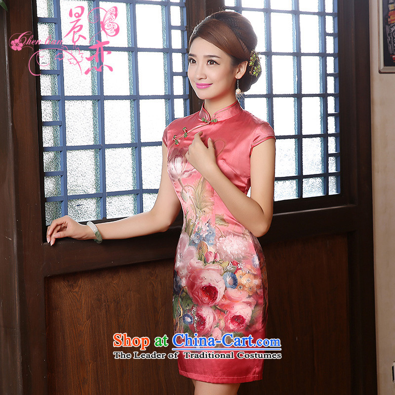 Morning new qipao land 2014 autumn in the retro fitted sleeveless improved stylish herbs extract heavyweight silk cheongsam dress Nga Yun pink聽M