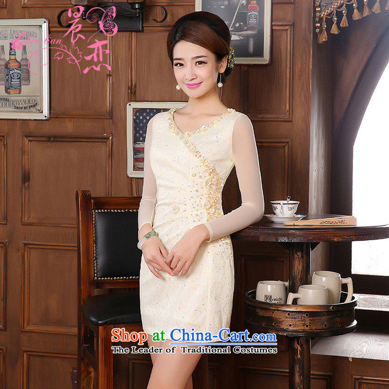 Morning new qipao land 2014 Autumn replacing retro long-sleeved improved stylish lace cheongsam dress two-color bride with apricot XXL