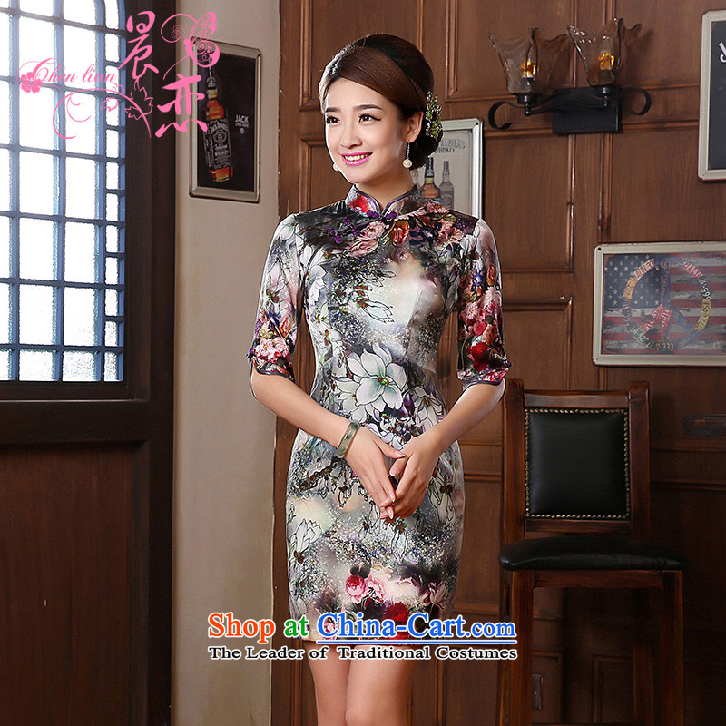 Morning new qipao land 2014 autumn in the retro fitted sleeveless improved stylish herbs extract heavyweight silk cheongsam dress suit燲L